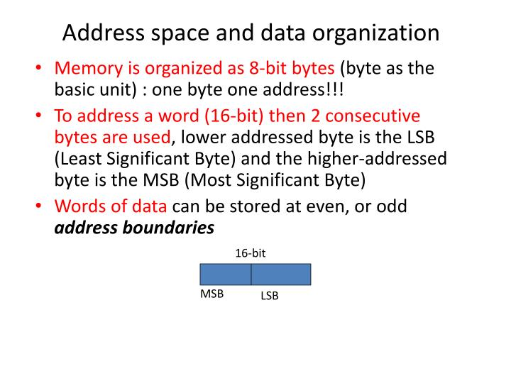 Address space and data organization