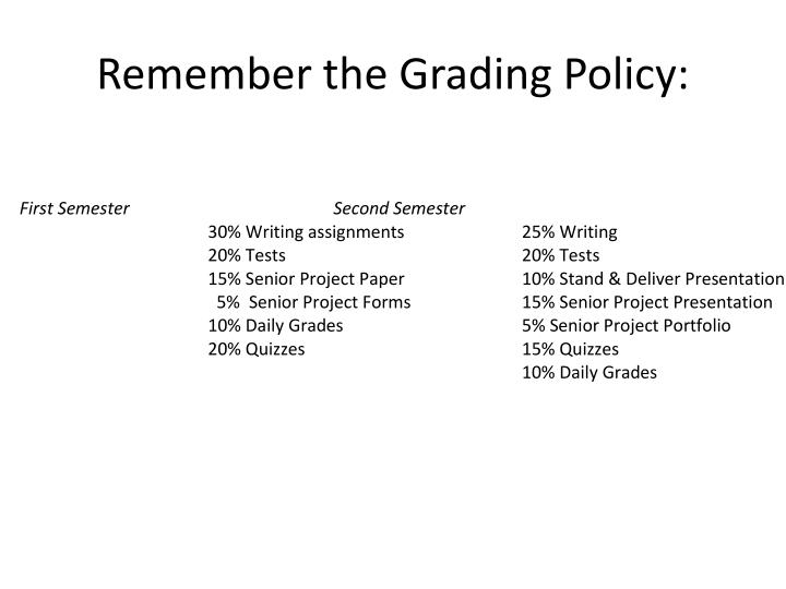 Remember the Grading Policy: