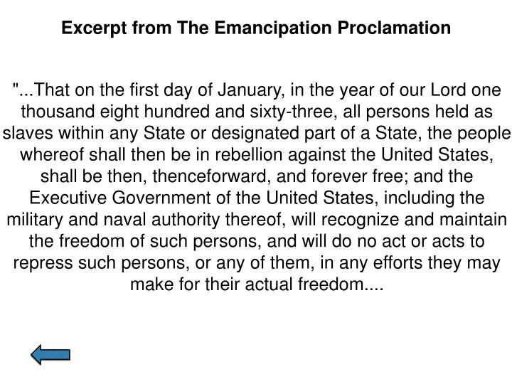 Excerpt from The Emancipation Proclamation