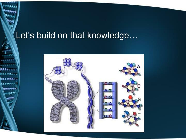 Let's build on that knowledge…