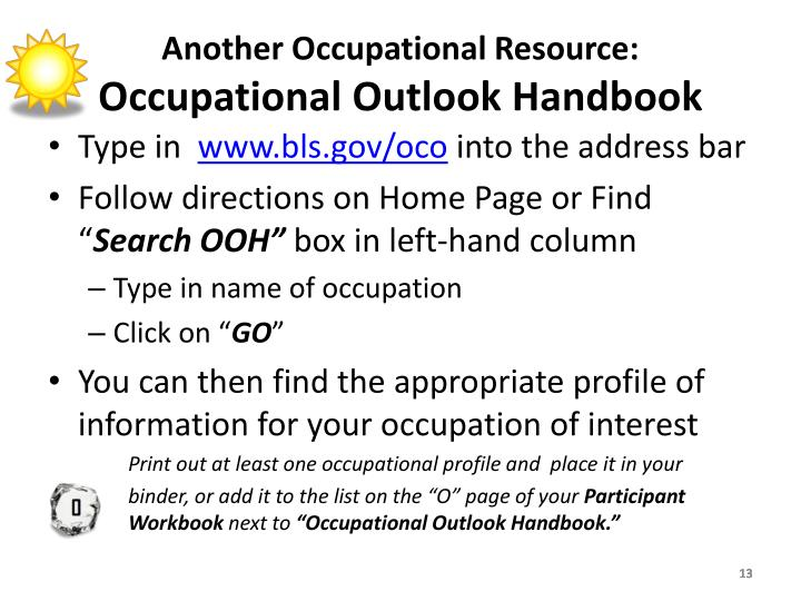 Another Occupational Resource:
