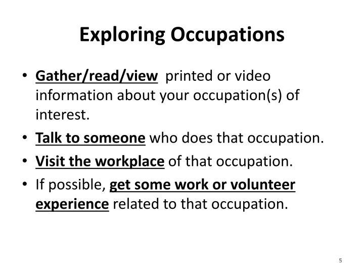 Exploring Occupations