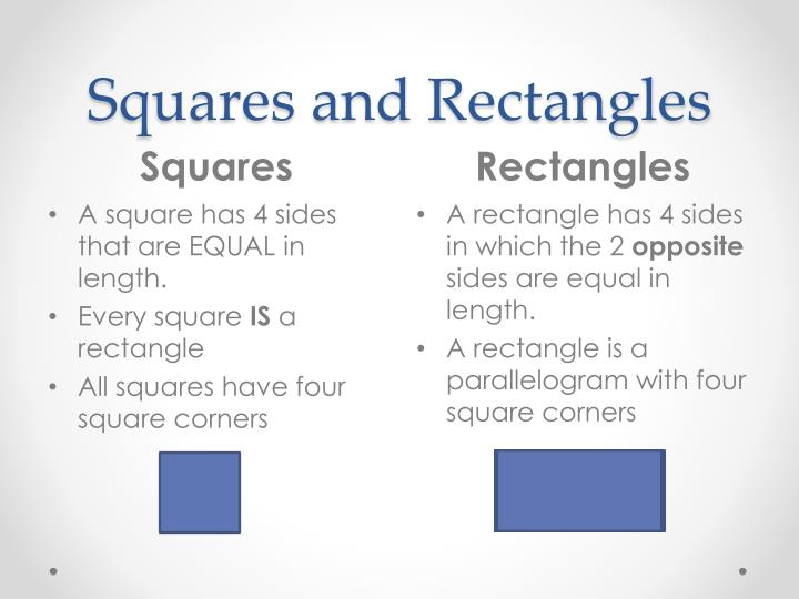 Squares and Rectangles