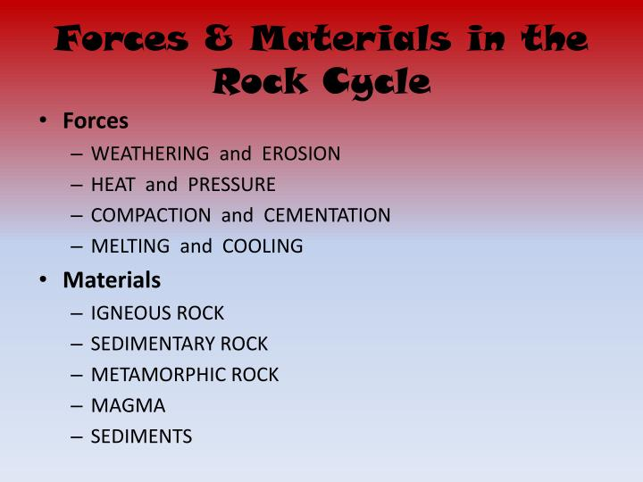 Forces & Materials in the Rock Cycle