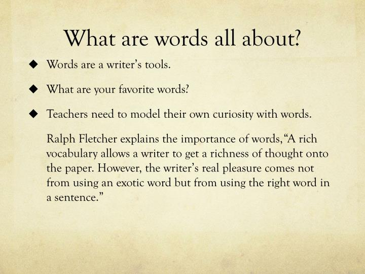 What are words all about?