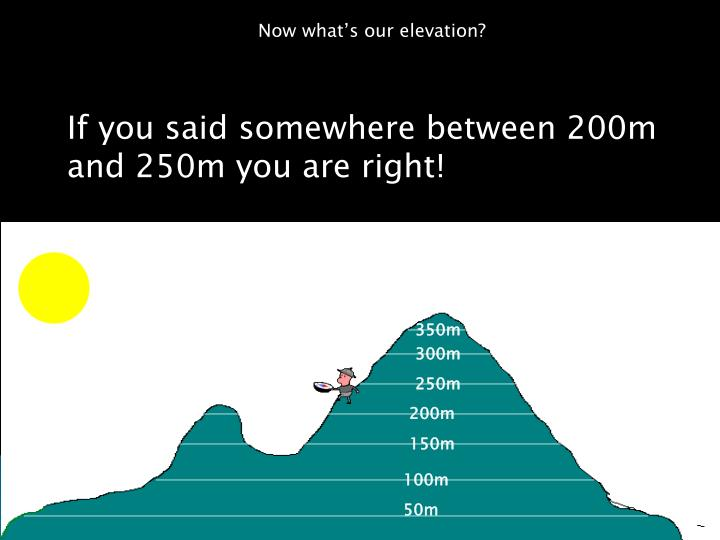 Now what's our elevation?