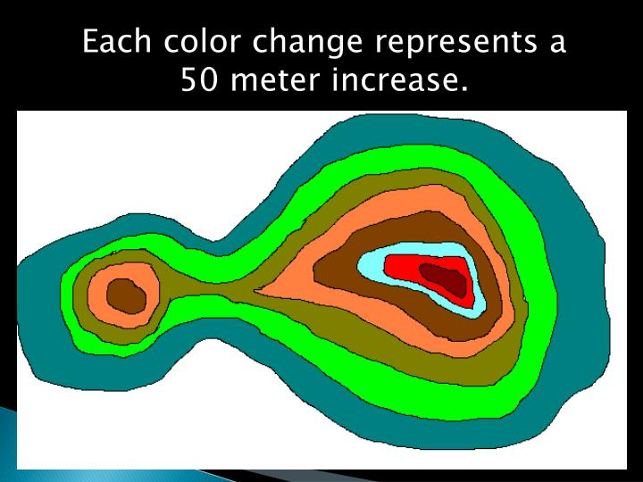 Each color change represents a 50 meter increase.