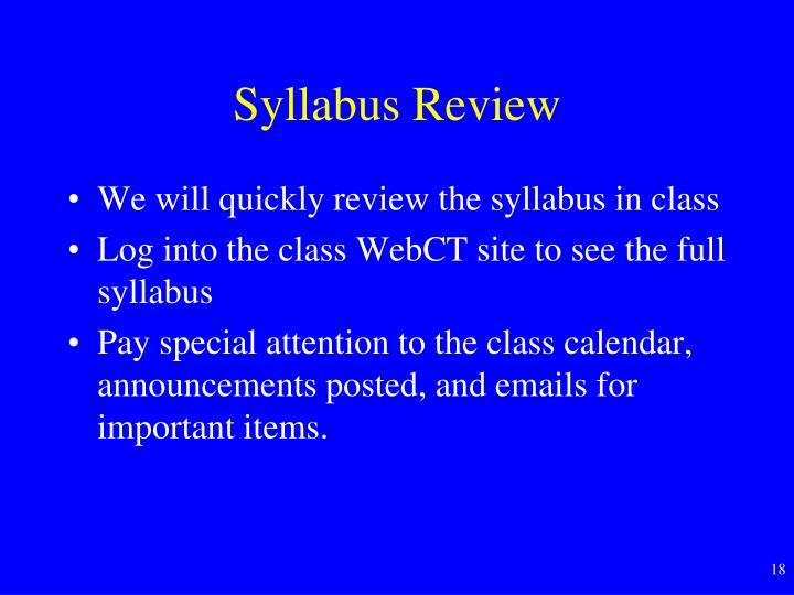 Syllabus Review
