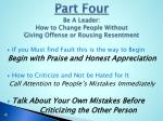 part four be a leader how to change people without giving offense or rousing resentment