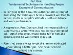 part one fundamental techniques in handling people example of communication