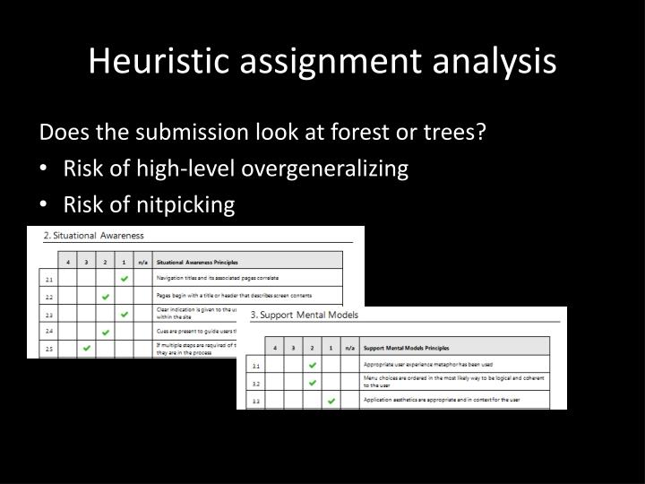Heuristic assignment analysis
