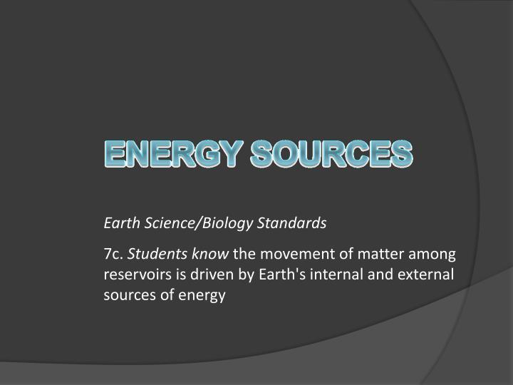 Earth Science/Biology Standards
