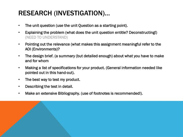 Research (investigation)…