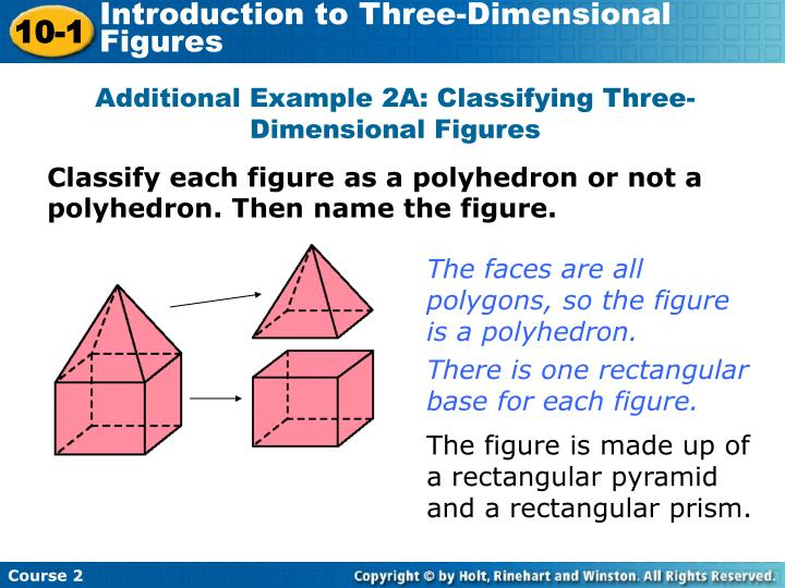 Additional Example 2A: Classifying Three-Dimensional Figures