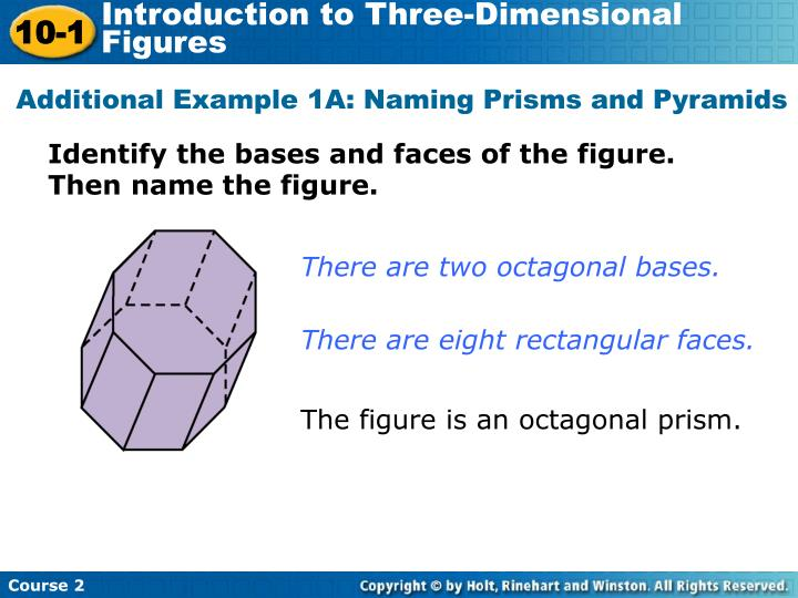 Additional Example 1A: Naming Prisms and Pyramids