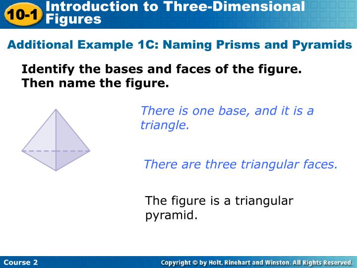 Additional Example 1C: Naming Prisms and Pyramids