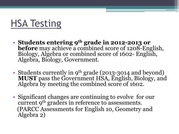 HSA Testing