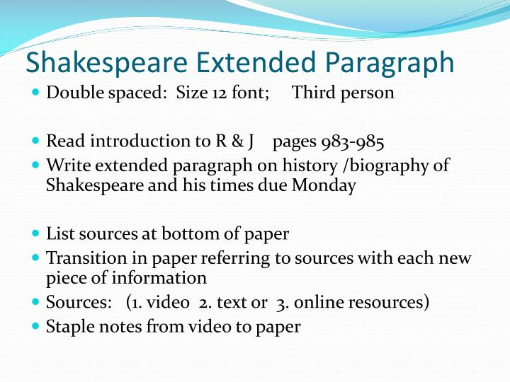 Shakespeare Extended Paragraph