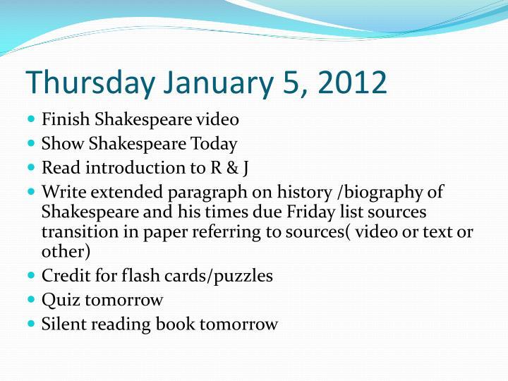 Thursday January 5, 2012