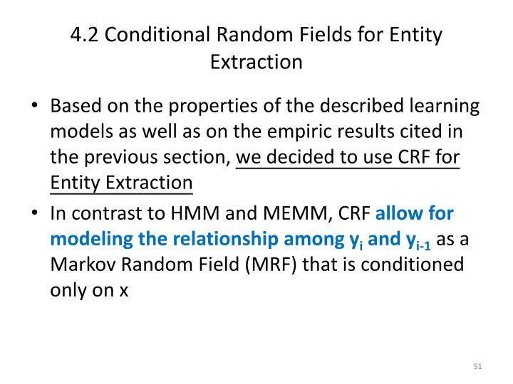4.2 Conditional Random Fields for Entity Extraction