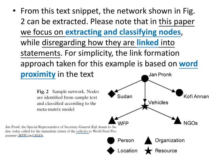From this text snippet, the network shown in Fig. 2 can be extracted. Please note that in