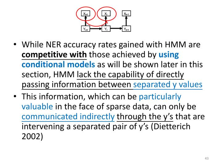 While NER accuracy rates gained with HMM are