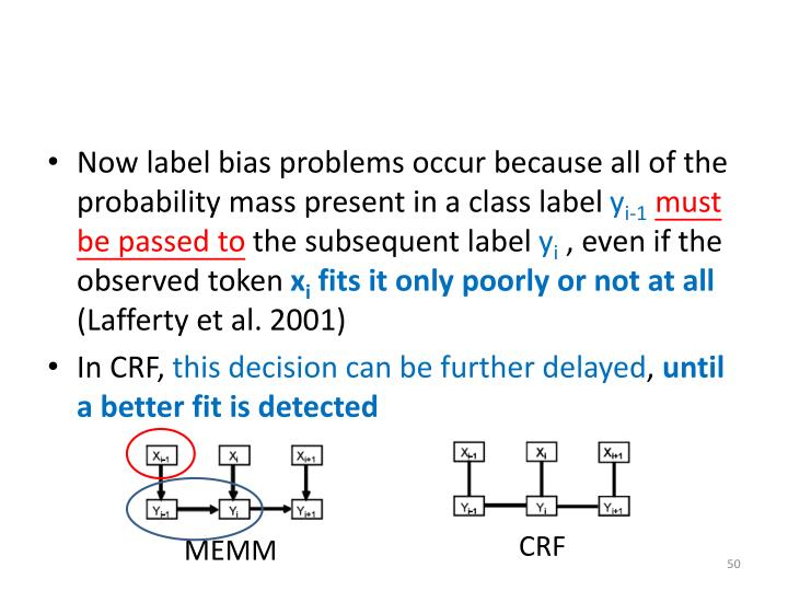 Now label bias problems occur because all of the probability mass present in a class label