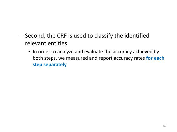 Second, the CRF is used to classify the identified relevant entities
