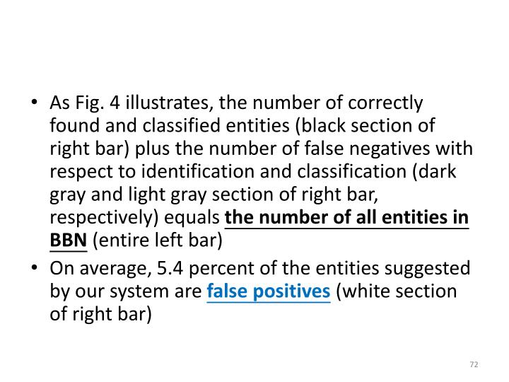 As Fig. 4 illustrates, the number of correctly found and classified entities (black section of right bar) plus the number of false negatives with respect to identification and classification (dark gray and light gray section of right bar, respectively) equals
