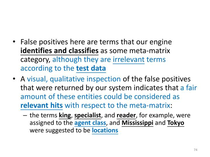 False positives here are terms that our engine