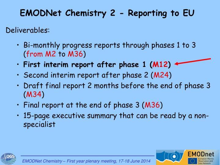 EMODNet Chemistry 2 - Reporting to EU