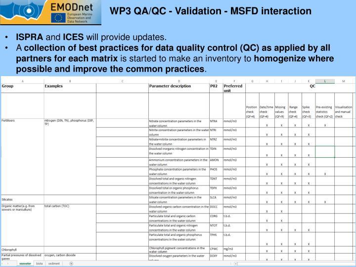 WP3 QA/QC - Validation - MSFD interaction