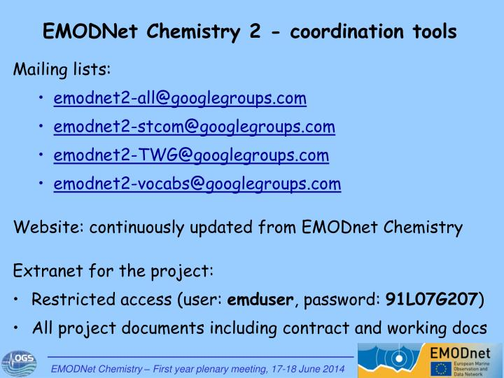 EMODNet Chemistry 2 - coordination tools