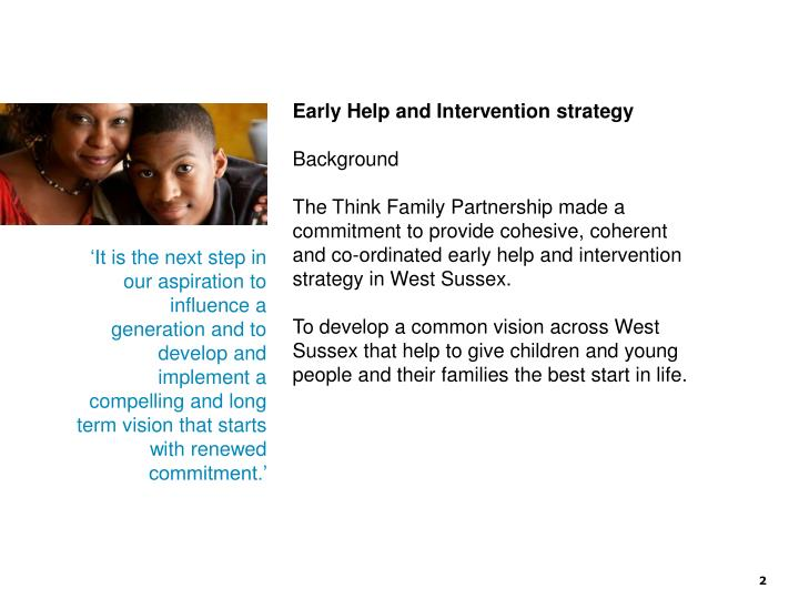 Early Help and Intervention strategy