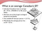 what is an average canadian s ef