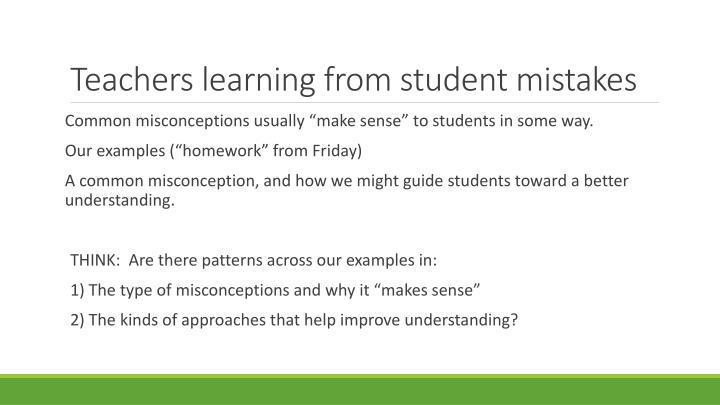 Teachers learning from student mistakes