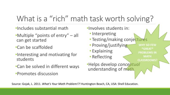 "What is a ""rich"" math task worth solving?"