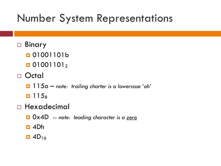 Number System Representations