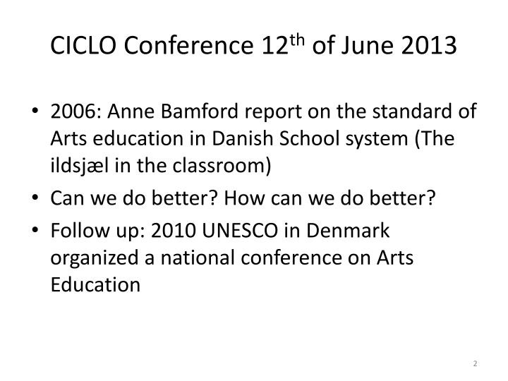 Ciclo conference 12 th of june 2013