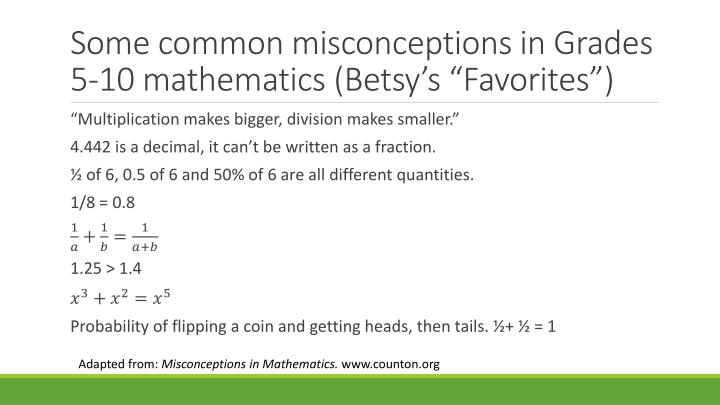 "Some common misconceptions in Grades 5-10 mathematics (Betsy's ""Favorites"")"