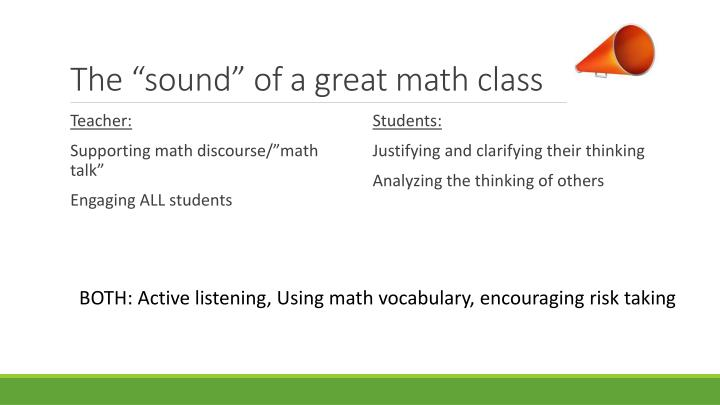 "The ""sound"" of a great math class"