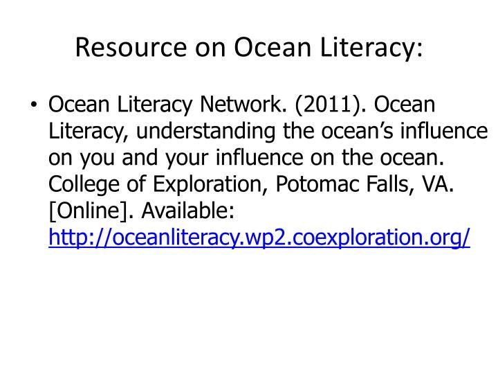 Resource on Ocean Literacy: