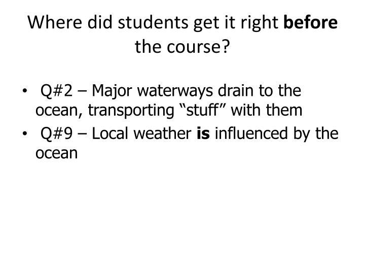 Where did students get it right