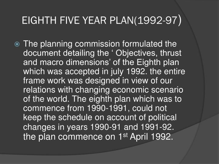Eighth five year plan 1992 97