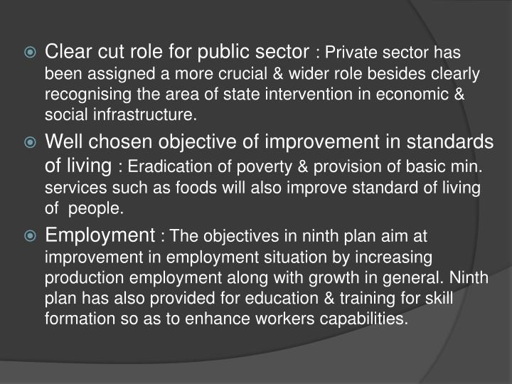 Clear cut role for public sector