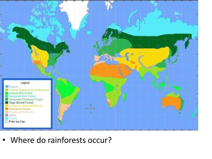 Where do rainforests occur?