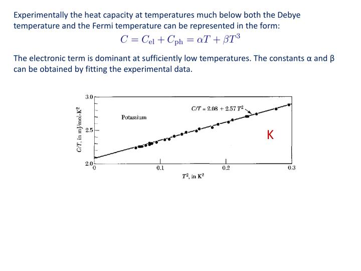 Experimentally the heat capacity at temperatures much below both the Debye temperature and the Fermi temperature can be represented in the form: