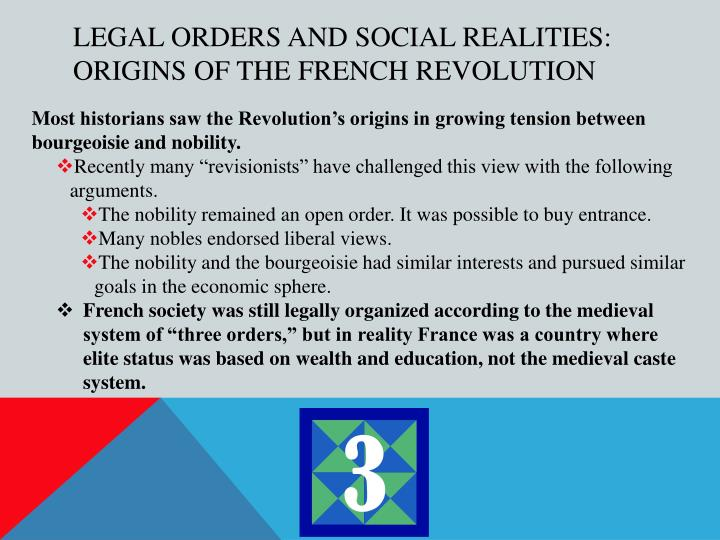 Legal Orders and Social Realities: Origins of the French Revolution