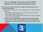 legal orders and social realities origins of the french revolution