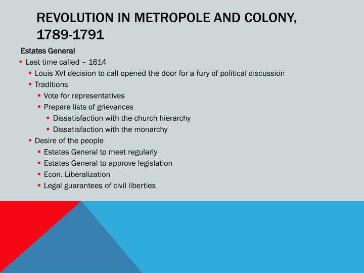 REVOLUTION IN METROPOLE AND COLONY,